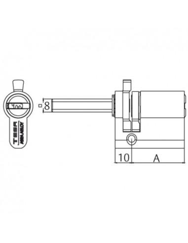 Cilindro de seguridad T80/ Perfil europeo para cerradura 3520